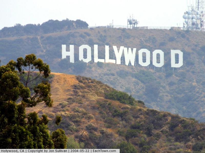- The Hollywood sign seen from Hollywood Blvd.