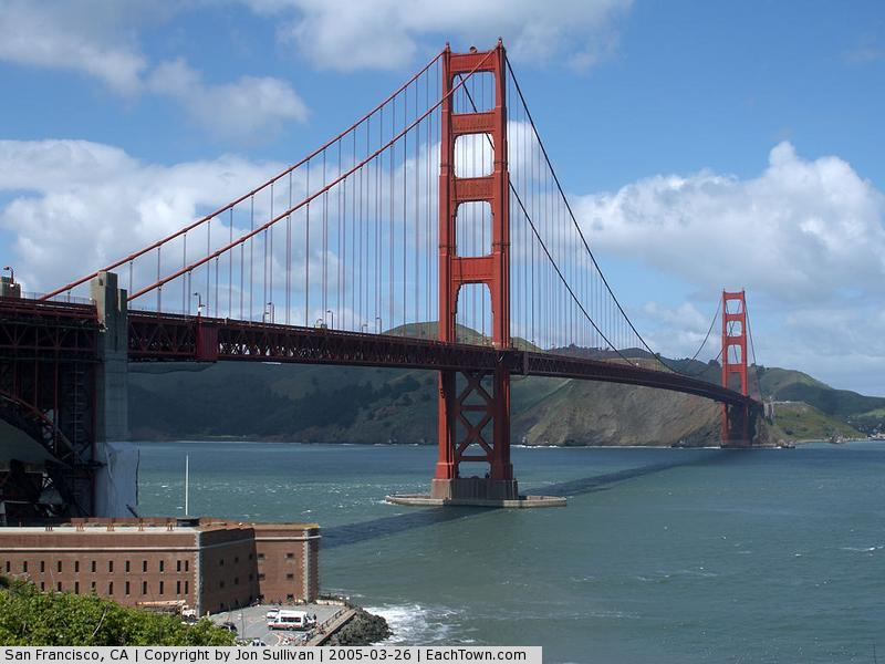 - The Golden Gate Bridge and Fort Point in San Francisco