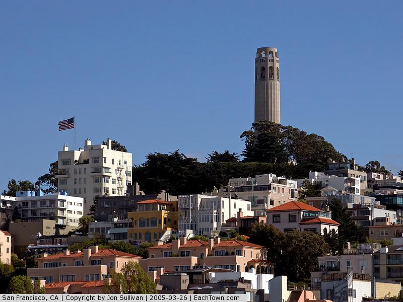 - Coit Tower on Telegraph Hill, taken from Fisherman's Wharf