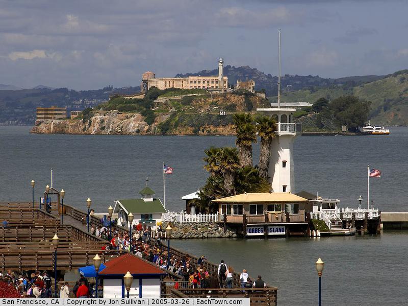 - Forbes Island, Fisherman's Wharf, and Alcatraz Island in San Francisco