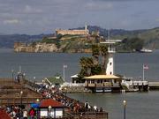 San Francisco, CA - Forbes Island, Fisherman's Wharf, and Alcatraz Island in San Francisco