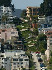 San Francisco, CA - Lombard Street in San Francisco - America's crookedest street